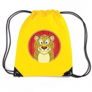 Bellatio Decorations Luipaarden rugtas / gymtas geel voor kinderen