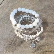LOBERON Armband Chaim / wit/grijs