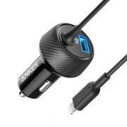 Anker PowerDrive 2 Elite with Lightning Connector - зарядно за кола с USB изход и вграден Lightning кабел (черен)