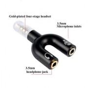 ShutterBugs 3.5mm U Shape Audio Stereo Y Splitter Adapter 3.5mm Male to 3.5mm Double Female Adapter (Black) .
