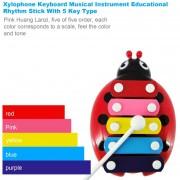 EB Xilófono Instrumento Musical De Teclado Ritmo Educativo Stick Con 5 Llave Tipo - Rojo