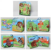 Soft Cloth Books Baby First Book Non-Toxic, Fabric, Colorful, Squeak and Rattle, Crinkle Children Educational Toys, Baby Shower Gifts for Boy and Girl (Forest animals)