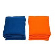 AJJ Cornhole - Cornhole Bags- Set of 8 - Royal/Orange