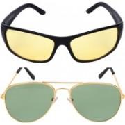 Criba Aviator, Retro Square Sunglasses(Yellow, Green)
