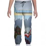 GULTMEE Pantalón de chándal para jóvenes, diseño de Flores Tropicales de la Isla y montañas del Bosque, Vista de la Ventana de la Playa, S-XL, de colores1, Small