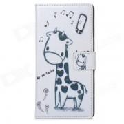 A-338 Cute Cartoon Giraffe Estilo Funda de cuero PU de proteccion para Sony Xperia Z1 L39h - Blanco
