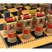 "Santa Fe TRAINS Steam vs Diesel Train Engine Chess Set W/ 15"" High Gloss Dark Walnut & Birdseye Maple Color Board"