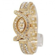 Luxury Oval Dial Golden Metal Strap Womens Watch