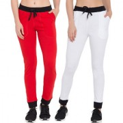 Cliths Slim Fit Cotton Lowers For Womens/Pack Of 2 Joggers For Women/Stylish Lowers-White Black Red Black