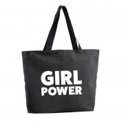 Bellatio Decorations Girl Power shopper tas zwart 47 cm