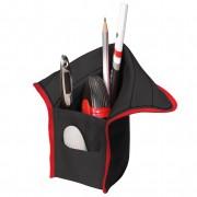 Necessaire/suport instrumente de scris, dimensiune 10,5x5,5x19,5cm negru/roșu