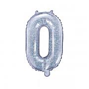 0. szám, fólia lufi, 35 cm, ezüst, hologramos