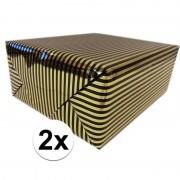 Shoppartners 2x Cadeaupapier gemetaliseerd goud en zwart gestreept 150 cm per rol
