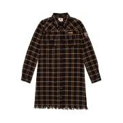 【67%OFF】フリンジヘム チェック シャツドレス ブラウン 10 ベビー用品 > 衣服~~ベビー服