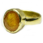 YogiGems 3.25 Ratti Certified Natural Yellow Sapphire Pukhraj Panchdhatu Ring