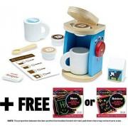 Melissa & Doug Wooden Brew & Serve Coffee Set+ FREE Scratch Art Mini-Pad Bundle [98427]