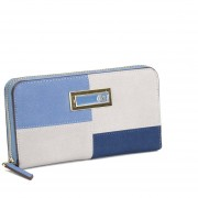 Billetera Cloe con material suede en bloques de color - azul