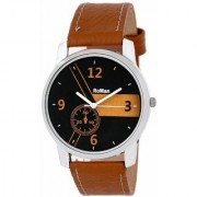 Roman Round Analog Brown Leather Mens Quartz Watch