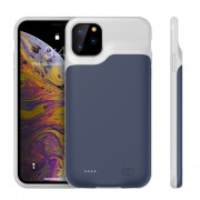 6500mAh Rechargeable Backup Extended Battery Charger Case for iPhone 11 Pro Max 6.5 inch - Dark Blue / Grey