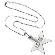 Men Style High Polished Laser Cut Love Words Star Style Silver Stainless Steel Necklace Pendant For Men And Women
