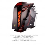 COUGAR Conquer Aluminum ATX Mid Tower Aluminum Frame Tempered Glass Gaming Case with LED Fan