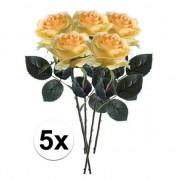 Bellatio flowers & plants 5x Gele rozen Simone kunstbloemen 45 cm