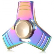 New Design Metallic Tri Ultra Durable Stainless Steel Bearing High Speed Fidget Hand Spinner Toy(Rainbow Colour)
