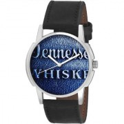 Mark Regal Round Blue Denim Dail Black Leather Strap Analog Watch For Mens