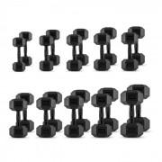 Capital Sports Hexbell комплект, 10 чифта единични гири: 5 до 30 kg, черни (PL-hexbell-set-black)