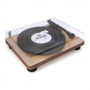 TT Classic WD Gira-discos-Retro Colunas com USB Line-Out Folheado a madeira