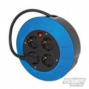 PowerMaster European Type F Schuko Cassette Cable Reel - 4 Gang 5m 727011 5024763134050