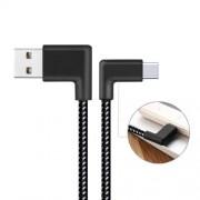 Adatátviteli kábel / USB töltõ - derékszögû, USB 2.0 Type C, 2m, 2,4A töltõáram átvitelre képes! - FEKETE