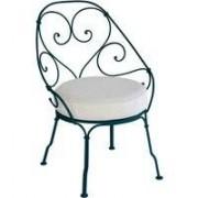 Fermob 1900 fauteuil met off-white zitkussen Acapulco Blue