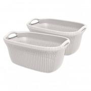 Curver Knit heupwasmand - 40 liter - oasis white - set van 2