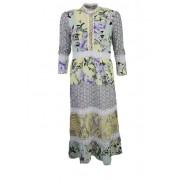 Rich & Royal RICH&ROYAL Langarm Blusenkleid Stehkragen Rüschen Spitze Blumen mint