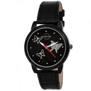 Manada Women's Ultra Thin Black Leather Strap Classic Design Analog Quartz Wrist Watch Round Shape Waterproof