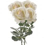 Merkloos 4x Creme witte kunstroos kunstbloemen 37 cm decoratie