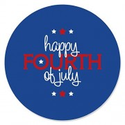 4th of July - Independence Day Circle Sticker Labels - 24 Count