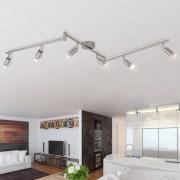 vidaXL полилей с LED насочени светлини, 6 бр, гланциран никел