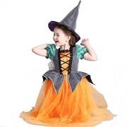 Bella Bays Bella Bays Cute Halloween Pumpkin Witch Dress Costume Set with Free Hat for Girls Age 3-12