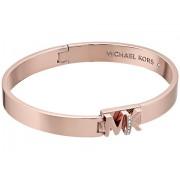 Michael Kors Iconic Hinged MK Logo Bangle Bracelet with Hint of Glitz Rose Gold