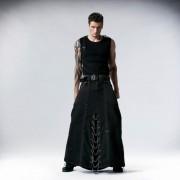 Punk Rave Heavy Metal Chained & Buckled Denim Long Kilt Black Q-237