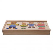 Phenovo Kids Dress-Up Bear Family Wooden Toy Mix Clothing Face Box Set Fun Play Game Matching Puzzle