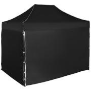 Gyorsan összecsukható sátor 2x3m – acél, Fekete, 4 oldalfal