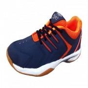 Port Men's Quantum Pu BadmintonShoes (Blue Orange)