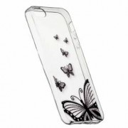 Husa Silicon Transparent Slim Butterfly Apple iPhone 5 5S SE
