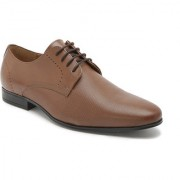 Hats Off Accessories Genuine Leather Tan Derby Shoes with Textured Vamp & Punches