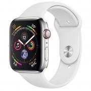 Apple Watch Series 4 GPS + Cellular 44mm Aço Inoxidável Prateado com Bracelete Desportiva Branca