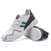 Zapatillas Casuales De Malla Transpirable Para Hombres - Blanco Y Verde