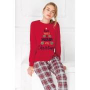 Pijama dama Merry Christmas rosu L